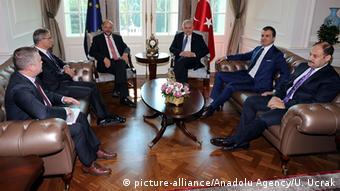 Turkish Prime Minister Binali Yildirim (R 3) meets President of the European Parliament, Martin Schulz (L 3)