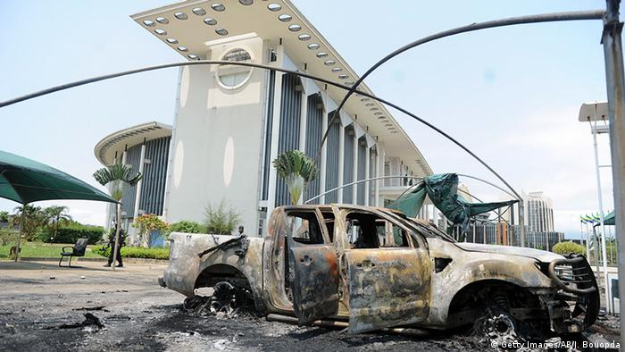Libreville, Gabon: Government buildings damaged by post-election rioting