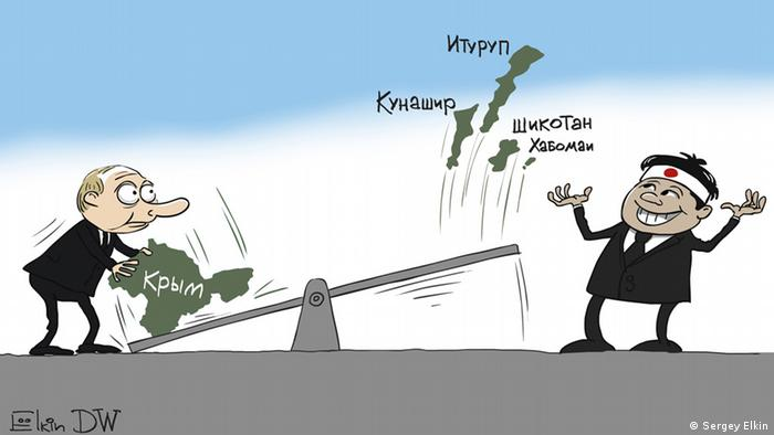 Карикатура: Владимир Путин ставит на одну сторону качелей Крым, который явно перевешивает четыре Курильских острова на другой стороне. Итуруп, Кунашир, Шикотан и Хабомаи взлетают в воздух к радости японского премьера Синдзо Абэ.
