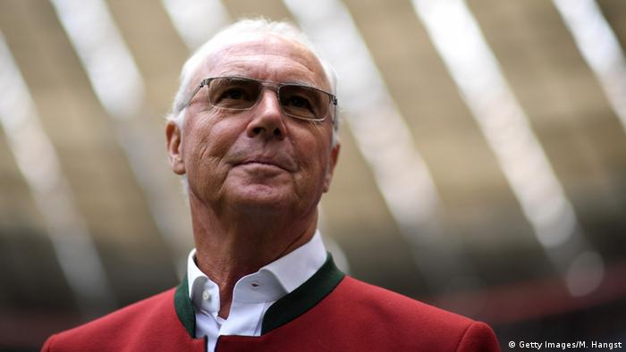 FC Bayern honorary president Franz Beckenbauer is seen prior to the Bundesliga match between FC Bayern Muenchen and Hannover 96 at Allianz Arena on May 14, 2016 in Munich, Germany.