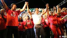 01.09.2016 Wahlkampf in Kap Verde Augusto neves (links), Kandidat von MpD, und Ulisses Correia e Silva, Parteipräsident von MpD Copyright: MpD