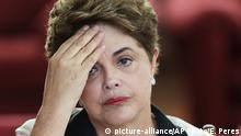 02.09. 2016+++++++++Brazil's ousted President Dilma Rousseff pauses during a press conference at the official residence Alvorada Palace, in Brasilia, Brazil, Friday, Sept. 2, 2016. Rousseff on Friday slammed the process that led to her ouster this week, promising to provide a strong opposition voice to the new government. In comments to foreign media, Rousseff said next week she would be moving back to her hometown of Porto Alegre in southern Brazil. She has 30 days to vacate the presidential palace. (AP Photo/Eraldo Peres) | (c) picture-alliance/AP Photo/E. Peres