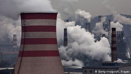 Smoke spews from smokestacks in China's Hebei province