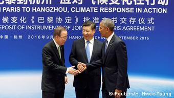 China Hangzhou G20 Klimagipfel - Barack Obama, Xi Jingping, Ban Ki-Moon (Reuters/H. Hwee Young)