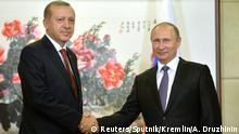 03.09.2016 Russian President Vladimir Putin (R) meets with his Turkish counterpart Recep Tayyip Erdogan ahead of the G20 Summit in Hangzhou, China, September 3, 2016. Sputnik/Kremlin/Alexei Druzhinin/via REUTERS ATTENTION EDITORS - THIS IMAGE WAS PROVIDED BY A THIRD PARTY. EDITORIAL USE ONLY Copyright: Reuters/Sputnik/Kremlin/A. Druzhinin