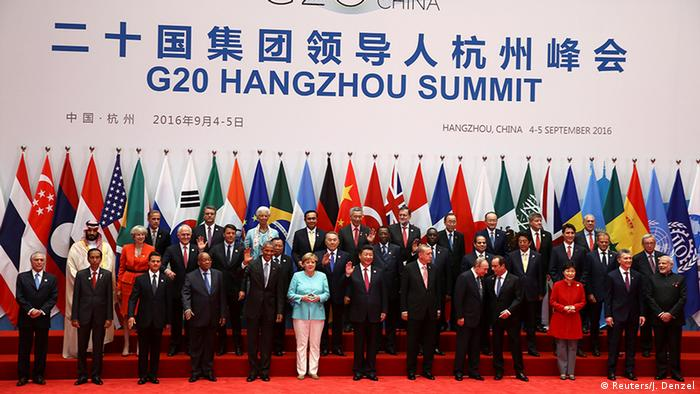 Foto do grupo dos líderes mundiais presentes na cúpula do G20 em Hangzhou, na China
