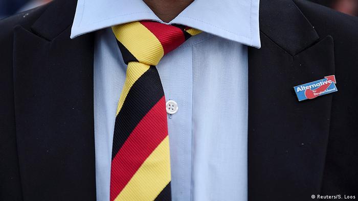 Галстук в цветах флага Германии и значок АдГ