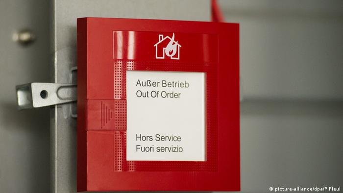 A fire-alarm box displaying that the system is out of order.