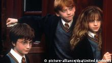 Harry Potter And The Sorcerer's Stone (2001) Daniel Radcliffe, Rupert Grin, Emma Watson Harry (Daniel Radcliffe), Ron (Rupert Grin) und Hermine (Emma Watson). Regie: Chris Columbus , NUR DIGITAL   © picture-alliance/dpa/United Archives