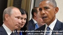 05.09.2016 *** HANGZHOU, CHINA - SEPTEMBER 5, 2016: Russia's President Vladimir Putin (L) and US President Barack Obama meet on the sidelines of the G20 summit. Alexei Druzhinin/Russian Presidential Press and Information Office/TASS | © picture-alliance/Russian Presidential Press and Information Office/Tass/A. Druzhinin