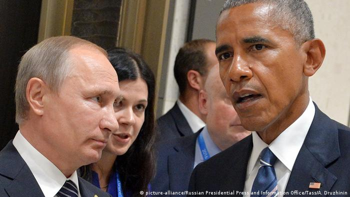 China G20 Gipfel in Hangzhou - Putin & Obama (picture-alliance/Russian Presidential Press and Information Office/Tass/A. Druzhinin)