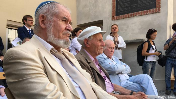 Speakers at the ceremony, including (right) Dr. Leszek Allerhand, a Holocaust survivor originally from Lviv