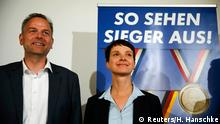 05.09.2016 *** Petry, chairwoman of the anti-immigration party Alternative for Germany (AfD), arrives for a press conference with Mecklenburg-Vorpommer AfD top candidate Holm in Berlin Frauke Petry (R), chairwoman of the anti-immigration party Alternative for Germany (AfD), and Leif-Erik Holm, Mecklenburg-Vorpommer top candidate arrive for a press conference in Berlin, Germany, September 5, 2016. REUTERS/Hannibal Hanschke Copyright: Reuters/H. Hanschke