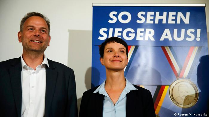 Член АдГ Лайф-Эрик Хольм (Leif-Erik Holm) и лидер партии Фрауке Петри (Frauke Petry)