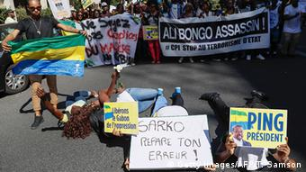 A demonstration in Paris against the results of Gabon's disputed elections