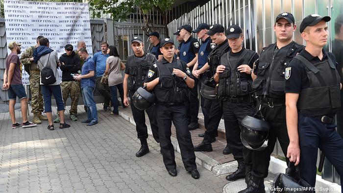 Ukraine Kiew Blockade des TV Senders Inter
