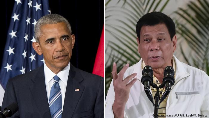 Bildkombo Barack Obama und Rodrigo Duterte (Getty Images/AFP/S. Loeb/M. Dejeto)