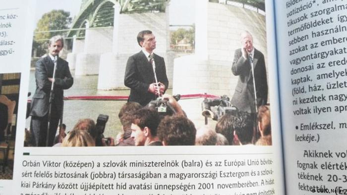 Viktor Orban (middle) in a photo in a new Hungarian school textbook