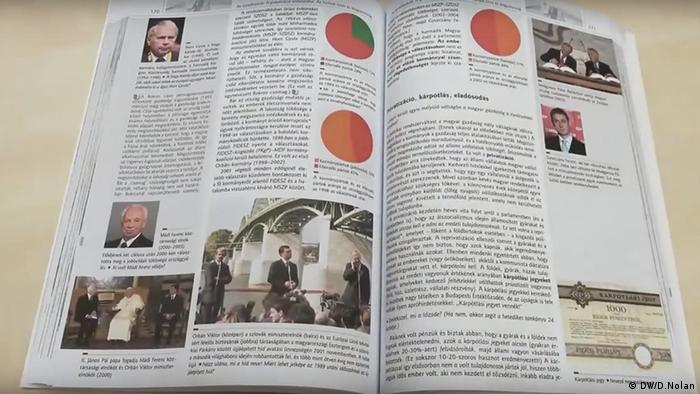 Two pages of the textbook with pictures that show Viktor Orban