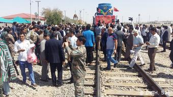 Прибытие первого грузового поезда из Китая в афганский город Хайратон на границе с Узбекистаном