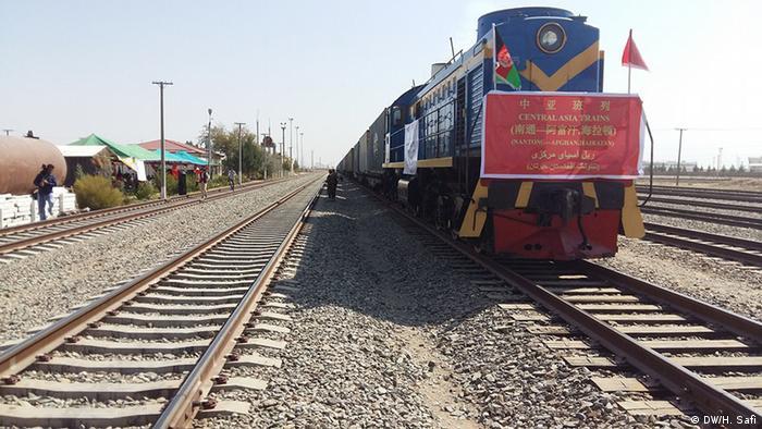 Ankunft eines chinesischen Güterzuges aus China in Hairatan (Foto: DW/H. Safi)