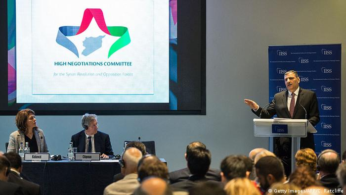 Riad Hijab, General Co-ordinator of the High Negotiations Committee (HNC) speaks at a press conference in central London on September 7, 2016.