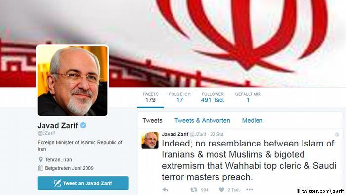 Screenshot Twitter Javad Zarif, Außenminister Iran