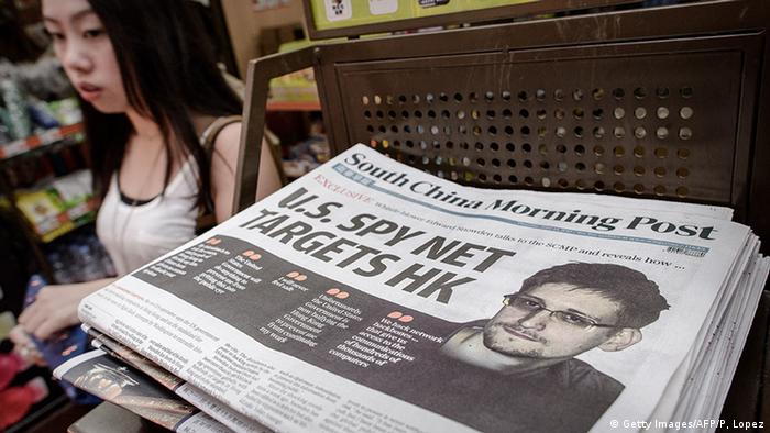 Huge picture of Edward Snowden splashed across the top of South China Morning Post newspaper in 2013.