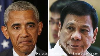 Kombobild Barack Obama und Rodrigo Duterte (picture-alliance/dpa/N. Shrestha/M. Irham)