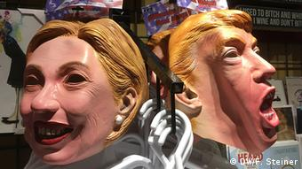 Masks of Hillary Clinton and Donald Trump in a shop in Vancouver, Canada