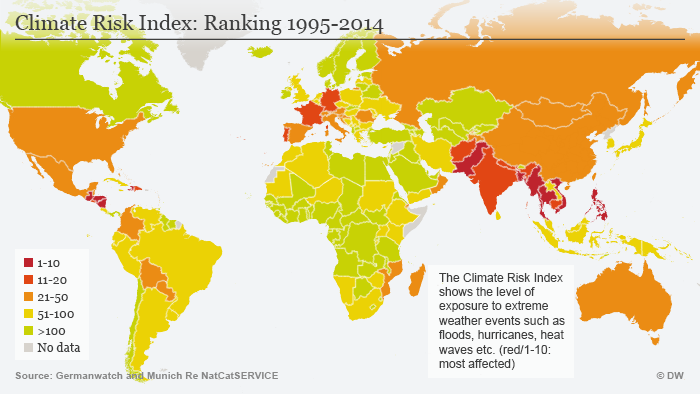 The Climate Risk Index: Ranking 1995-2014. Shows how vulnerable certain parts of the world are to extreme weather events such as hurricanes, floods and heat waves