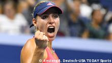 09.09.2016 *** Tennis: U.S. Open Sept 8, 2016; New York, NY, USA; Angelique Kerber of Germany reacts after beating Caroline Wozniacki of Denmark on day eleven of the 2016 U.S. Open tennis tournament at USTA Billie Jean King National Tennis Center. Mandatory Credit: Robert Deutsch-USA TODAY Sports © Reuters/R. Deutsch-USA TODAY Sports
