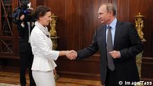 Anna Kuznetsova Russland Ombudsfrau für Rechte der Kinder in Russland mit Wladimir Putin