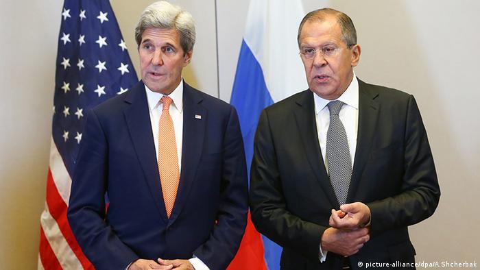 Джон Керрі та Сергій Лавров після зустрічі в Женеві