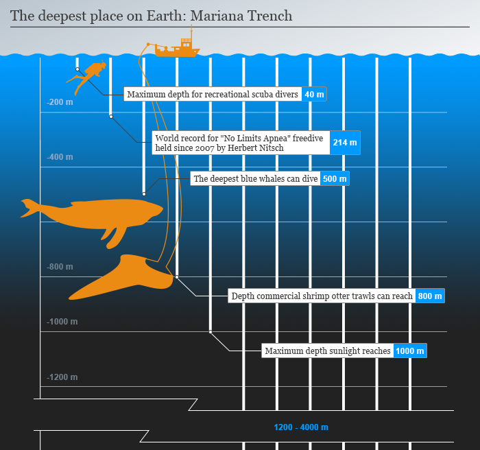 Infografik The deepest place on earth: Mariana Trench 1v4