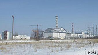 Blick auf das AKW Tschernobyl im Schnee (Foto: GRS)