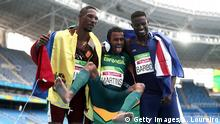 Rio_Paralympics_Momente_09_09 09.09.2016 +++++ RIO DE JANEIRO, BRAZIL - SEPTEMBER 09: (L-R) Luis Arturo Paiva of Venezuela, Daniel Martins of Brazil and Gracelino Barbosa of Cape Verde celebrate after the Men's 400m - T20 Final at the Olympic Stadium on Day 2 of the Rio 2016 Paralympic Games on September 9, 2016 in Rio de Janeiro, Brazil. Copyright: Getty Images/A. Loureiro
