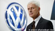 April 26, 2016 ARCHIV - Matthias Müller, Vorstandsvorsitzender der Volkswagen AG, steht am 11.01.2016 am ersten Pressetag der North American International Auto Show (NAIAS) in Detroit (Michigan, USA) am VW-Stand vor dem Konzernlogo. Mit der «Strategie 2025» will Volkswagen inmitten der größten Krise der Konzerngeschichte die Weichen für die Zukunft stellen. Foto: Uli Deck/dpa (zu dpa Auf zu neuen Ufern: VW-Chef Müller präsentiert «Strategie 2025» vom 15.06.2016) +++(c) dpa - Bildfunk+++ | Verwendung weltweit (c) picture-alliance/dpa/U. Deck