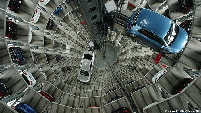 A car tower at a Volkswagen plant in Wolfsburg