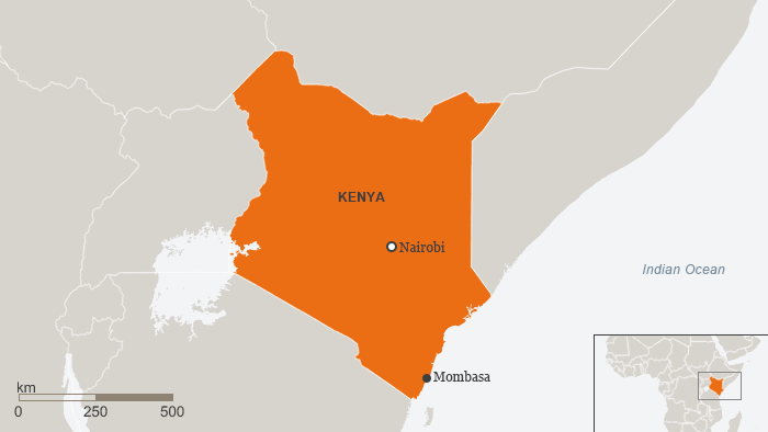 A map of Kenya with Mombasa marked in the bottom corner
