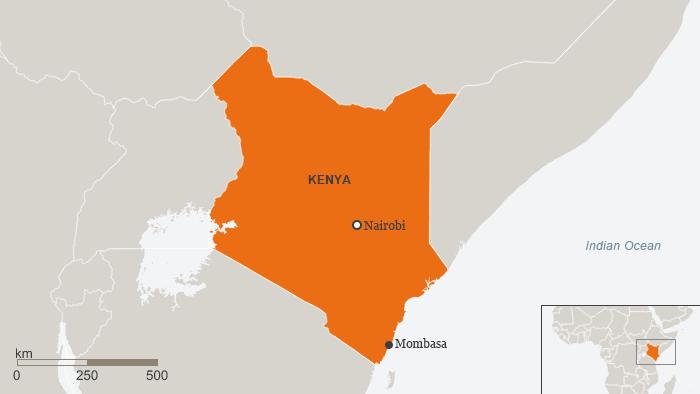 Karte Kenia Mombasa Englisch