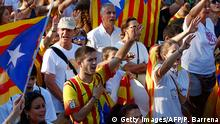 September 11, 2016*** Demonstrators wave 'Estaladas' (pro-independence Catalan flags) and sing the Catalan national anthem as they gather during a pro-independence demonstration, on September 11, 2016, in Barcelona during the National Day of Catalonia 'Diada'. The 'Diada' marks the date (September 11, 1714) when Barcelona fell to Spanish and French forces in the War of Succession, that redrew the map of Spain. Tens of thousands of Catalans are expected to protest on September 11, 2016 to demand their region speed up its drive to break away from Spain and form its own country. / AFP / PAU BARRENA (Photo credit should read PAU BARRENA/AFP/Getty Images) Getty Images/AFP/P. Barrena