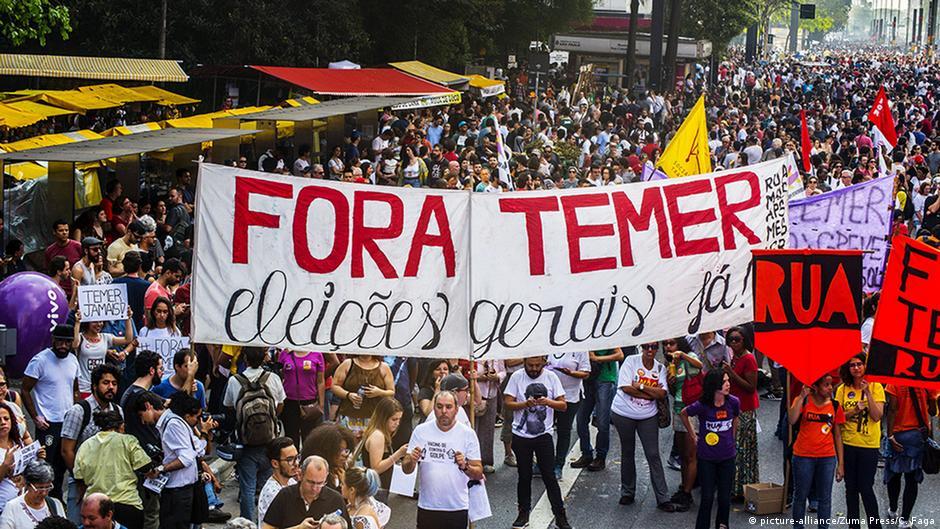 Masiva manifestación contra Gobierno de Temer en Brasil