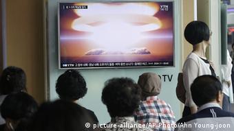 Südkorea TV-Programm Atomtest Nordkorea (picture-alliance/AP Photo/Ahn Young-joon)