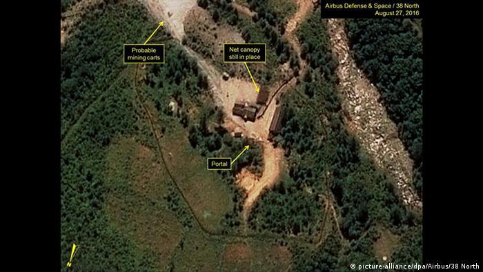 Atomtest Nordkorea mutmaßliches Testgelände Satellitenaufnahme