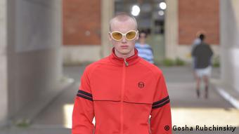 A runway look from Gosha Rubchinskiy's Spring 2017 collection featuring a tracksuit by Sergio Tacchini. Credit: Gosha Rubchinskiy