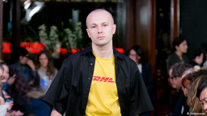 Gosha Rubchinskiy in the DHL look opened the women's Spring 2016 fashion show by Vetements. Credit: Gosha Rubchinskiy