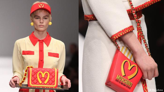 Details from the Moschino Fall 2014 collection by Jeremy Scott inspired by the aesthetic codes of McDonald's uniforms. Credit: Moschino