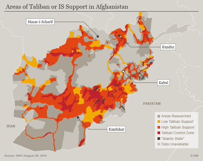 Infographic showing areas held by the Taliban and Islamic State