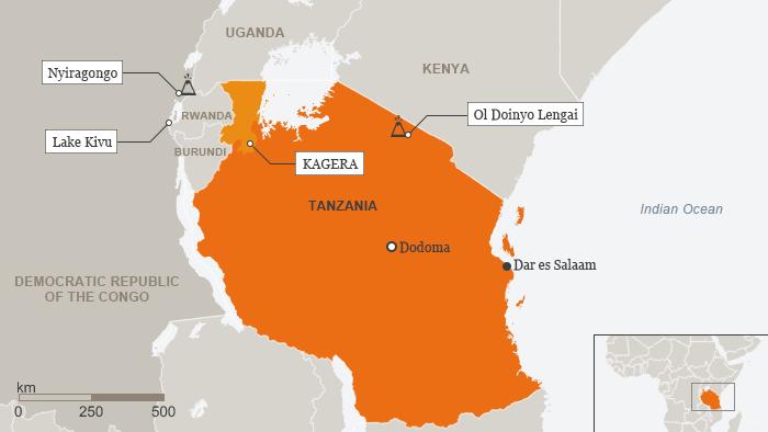 Karte Tansania DR Kongo Vulkane Englisch